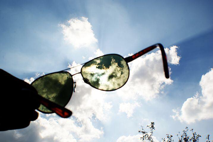 Sunglasses with light and sound sensitivity to manage