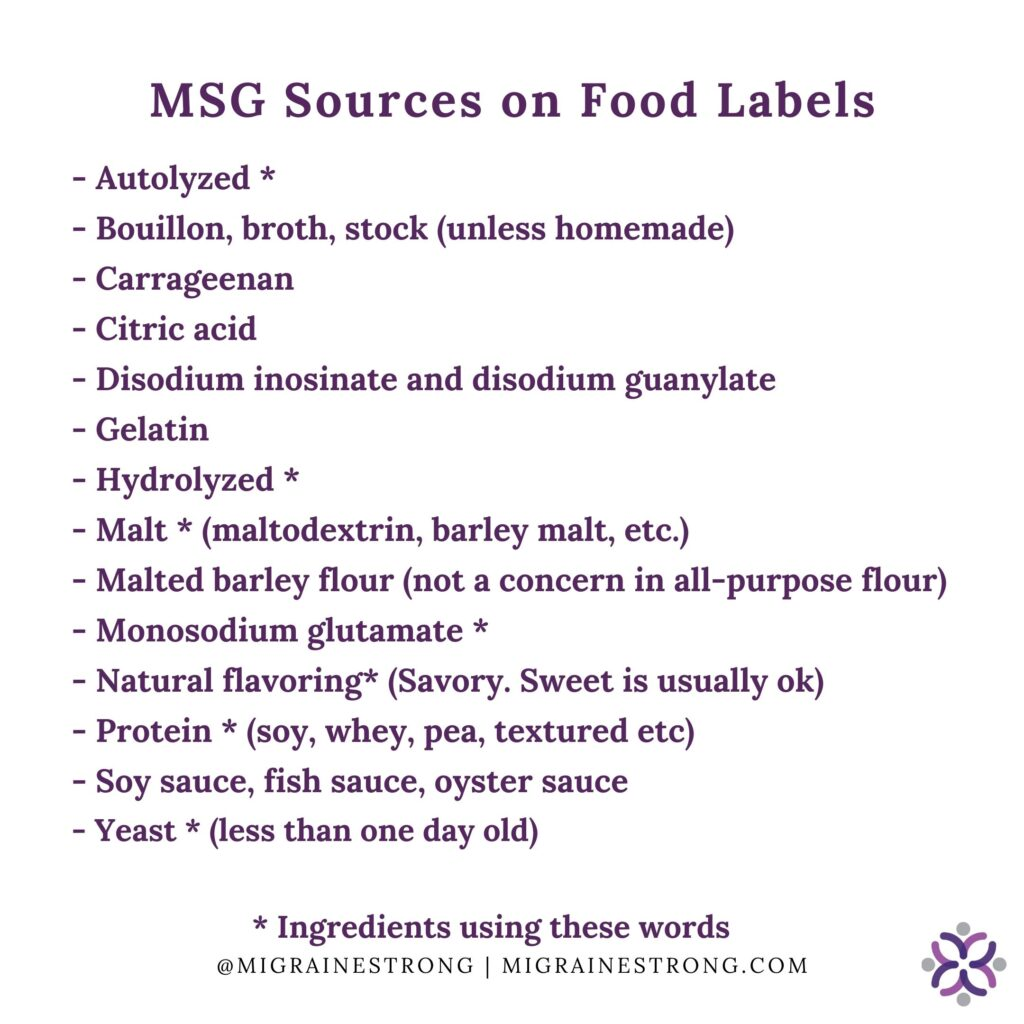 MSG sources that may trigger msgheadache