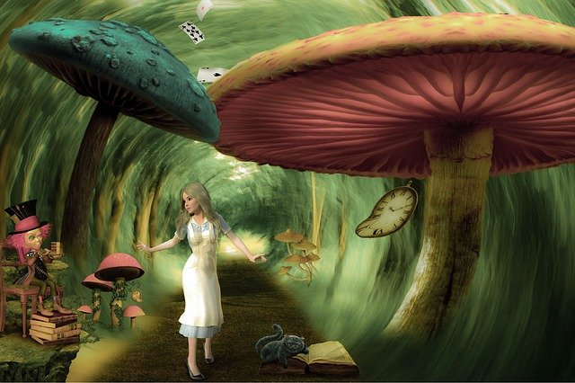 Alice in Wonderland syndrome with Alice walking among huge mushrooms