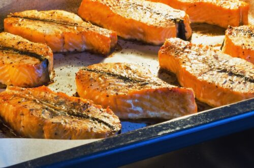 Fish oil for migraine example with salmon steaks